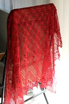 Because, let's be honest, no one else wears shawls. (To the title of this board). Is not this shawl amazing? Look at how lacy and airy and beauteous and red and perfect it is! Almost like red invisibleness. I wish I had time to knit something like this!