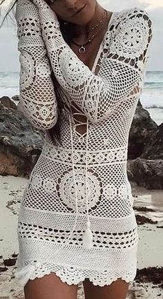 Make a Cozy Pair of Slippers Lady by the Bay - 4 Hour Infinity Scarf Crochet Pattern crochet scarf for women .Lady by the Bay - 4 Hour Infinity Scarf Crochet Pattern Crochet Beach Dress, Knit Baby Dress, Crochet Lace, Crochet Bathing Suits, Crochet Bikini, Boho Fashion, Fashion Outfits, Womens Fashion, Trendy Outfits