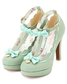 Cute Mint Bow Heels