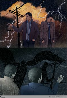 SPN FanArt: Thunder by ~Shin-ichi on deviantART *-* he's protecting Dean with his wings!! AHH MY FEELS