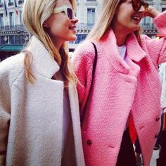 Pink coats, for color in the dreary winter
