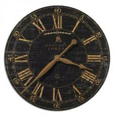 Timeworks 18 Tuscan French Weathered Black Wall Clock