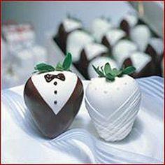chocolate covered wedding strawberries cute take on tuxedo strawberries! Tuxedo Strawberries, Wedding Strawberries, Chocolate Dipped Strawberries, Wedding Events, Wedding Favors, Wedding Ideas, Wedding Cake, Wedding Desserts, Wedding Chocolates