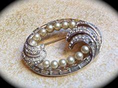 Trifari pearl and rhinestone brooch by JNPVintageJewelry on Etsy, $65.00