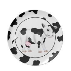 Country Cow Cartoon Animal Plate