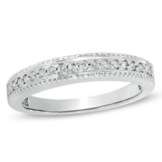 Ladies'+1/6+CT.+T.W.+Diamond+Wedding+Band+in+10K+White+Gold