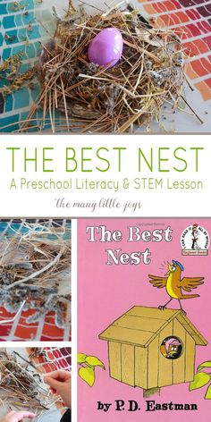 This simple preschool activity brings to life P D Eastman s beloved book The Best Nest as your child reads the book searches for nest building material and then creates his or her own nest It s a fun hands-on learning experience that your child will love Kindergarten Stem, Preschool Literacy, Preschool Books, Preschool Themes, Preschool Lessons, Stem Preschool, Outdoor Preschool Activities, Preschool Printables, Creative Curriculum Preschool