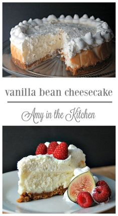 Vanilla Bean Cheesecake with White Chocolate Mousse. This is a Cheesecake Factory Copycat recipe! The BEST eggless cheesecake recipe EVER! Eggless Cheesecake Recipe, Cheesecake Recipes, Dessert Recipes, Cheesecake Vanille, Vanilla Bean Cheesecake, Tiramisu Cheesecake, White Chocolate Cheesecake, Food Cakes, Cupcake Cakes