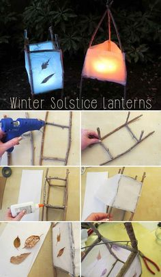 DIY these fantastic lanterns made from twigs, white tissue paper, cardboard, leaves or pine needles and flameless tea light candles to celebrate the winter solstice. Winter Diy, Winter Snow, Garden Lanterns, Diy Party Lanterns, Homemade Lanterns, Ideas Lanterns, Tea Light Lanterns, Waldorf Crafts, How To Make Lanterns