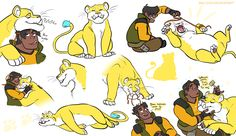 VLD fanart - Hunk and the Yellow Lion cuddliest pair in the team~ (i wish this was real!)