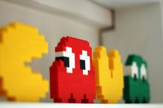 *Children Playroom* Our family will build these and put it on a shelf in our Lego movie/arcade room in our house. Pac Man, Lego Pacman, Cool Desk Accessories, Design My Room, Arcade Game Room, Nerd Room, Wraps, Kids Room, Children Playroom
