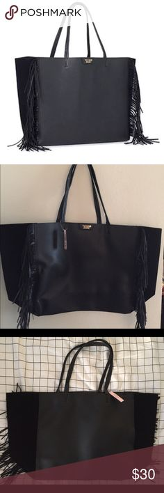"""New Victoria's Secret Black Faux Leather with Blac New Victoria's Secret Black Faux Leather with Black Fringe   large tote bag.  Summer 2016 Limited Edition.  New with tags  Original price: $85  Approx measurements: L x 7"""" W x 13"""" H, 9 """" Victoria's Secret Bags Totes"""