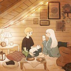 In The Attic [shato/샤토]. Cute Couple Drawings, Cute Couple Art, Cute Drawings, Cartoon Drawings, Arte Do Kawaii, Kawaii Art, Art And Illustration, Pretty Art, Cute Art