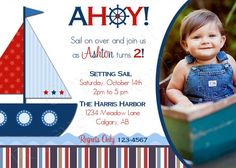 Nautical Birthday Invitation  FREE Thank You by ForeverYourPrints, $15.00