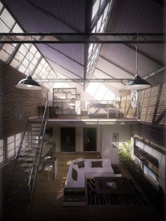 Old Factory Apartment by ~Speakerk on deviantART (Staircase & interior design)