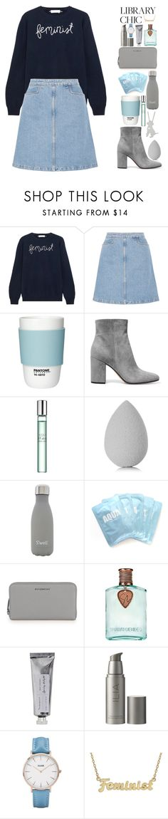 """Feminist"" by biscuitatlas ❤ liked on Polyvore featuring Lingua Franca, M.i.h Jeans, Pantone, Gianvito Rossi, Sephora Collection, beautyblender, S'well, Givenchy, Bloomingville and Ilia"