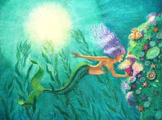 Mermaid Art Painting by Sue Halstenberg