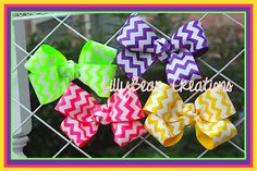 Set of Hair Bows, Chevron Hair Bows  by LillyBearCreations on Etsy