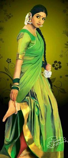 Sridevi's Wonderful Painting Image Indian Women Painting, Indian Art Paintings, India Painting, Woman Painting, Rajasthani Painting, India Art, Most Beautiful Indian Actress, Half Saree, Rangoli Designs