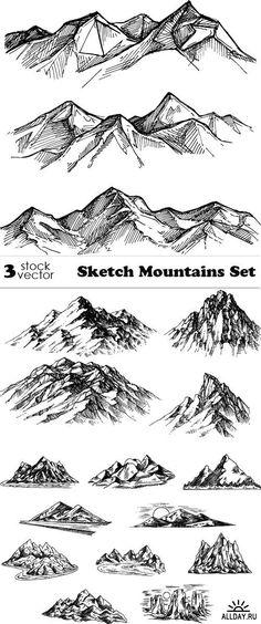 Vectors - Sketch Mountains Set