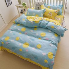 Cute harajuku students poached eggs bed sheet 4 pieces