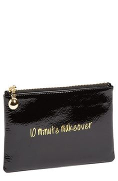 $22, Black Print Leather Clutch: Halogen Patent Leather Clutch 10 Minute Makeover Black One Size. Sold by Nordstrom. Click for more info: http://lookastic.com/women/shop_items/116097/redirect