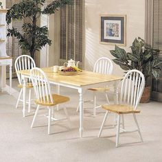 143aff2155cf2 Acme Farmhouse 02247NW 5-Piece Dining Set in Natural   White Finish