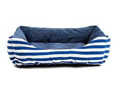 Hollypet Big Pet Bed Lux Plush Rectangular Quality Dog Bed Removalbe Washable Cover Zippered Blue and White Medium *** To view further for this item, visit the image link.