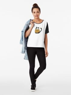 'The future is feline - Cat in Statement Shirt ' T-Shirt by Kerstin Ebner Tshirt Colors, Female Models, Chiffon Tops, Classic T Shirts, Shirt Designs, Tees, Winter Christmas, Christmas Time, How To Wear