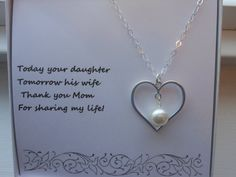 Mother of the Bride Gift Heart Necklace