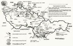 Schéma invaze armád Varšavské smlouvy do Československa v srpnu 1968