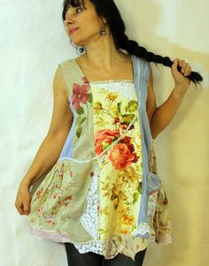 Reserved for Hazel Romantic garden recycled linen by jamfashion
