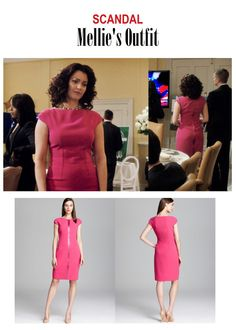 """March 2015 @ PM Bellamy Young as Mellie Grant in Scandal - """"Put A Ring On It"""" (Ep. Looks like this dress was worn the other way around in the show. Loved this look on Mellie! Mellie's Dress: Elie Tahari """"Ruth"""" Dress sold out here Scandal Fashion, Fashion Tv, Professional Wardrobe, Elie Tahari, Dresses For Work, Formal Dresses, Sheath Dress, That Look, Feminine"""