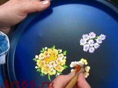 Нижнетагильская роспись. Цветы на подносе. Часть 1