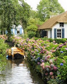 Giethoorn Giethoorn, The Netherlands tree outdoor house water geographical feature flower Canal waterway River Village Garden cottage surrounded Town