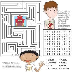 A maze and crossword puzzle your kids will love Printable Mazes, Printable Letters, Free Printable, New Orleans With Kids, Maze Worksheet, Mazes For Kids, Maze Puzzles, Finish Him, Back To School Supplies