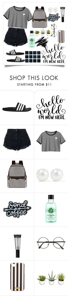 """B L A C K A N D W H I T E S T R I P E S//🐼"" by lifestooshortforlies ❤ liked on Polyvore featuring adidas, Nobody Denim, Henri Bendel, Kenneth Jay Lane, Fuji and Victoria's Secret"