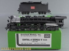 HO Brass Model Train - OMI 1440 Overland Central of Georgia 4-8-4 K #451 - CUSTOM   whoever bought this is lucky, I can't find anything CoGA related that isn't an E-unit diesel or a 4-4-0, or that heritage unit