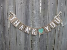 THANK YOU Burlap Garland Heart and Bows Choose by 2PerfectionDecor, $20.00