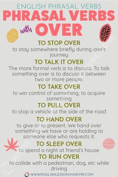 12 Phrasal Verbs with Over with meanings, examples and infographic. Learn English phrasal verbs in context, don't learn them by heart. Learn English Grammar, English Vocabulary Words, Learn English Words, English Phrases, English Idioms, Teaching English, Teaching Spanish, English Tips, English Study