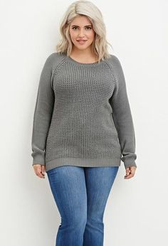Women Sweater Plus Size Textured Knit Raglan Sweater Looks Plus Size, Trendy Plus Size, Plus Size Tops, Plus Size Fall Fashion, Curvy Fashion, Fashion 2015, Winter Fashion, Girl Fashion, Plus Size Dresses