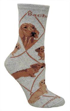 Dachshund Red Dog Breed Novelty Socks Gray