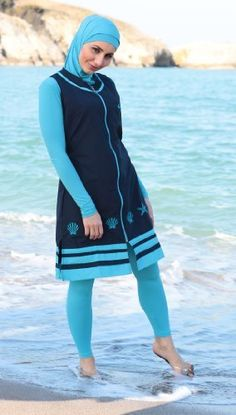 Ladies Burkini Modesty Swimsuit// Swimming Costume Attached Hood Muslim Islamic