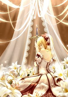 Illustration wallpaper art of Artoria Pendragon (Lily) with her sword, Caliburn along with all the Lily flowers.