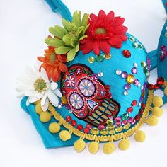 This is pretty flippin awesome! Turquoise Mexican Sugar Skull Rave Bra - 36C. $50.00, via Etsy.
