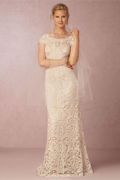 Superb Style BHLDN August Gown With a wide scalloped neckline plunging v back and stunning lace train this curve hugging ivory gown exudes classic beauty