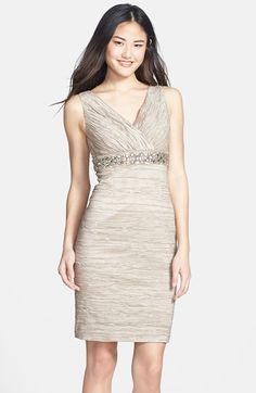Eliza J Embellished Waist Crinkled Taffeta Dress (Regular & Petite) available at #Nordstrom
