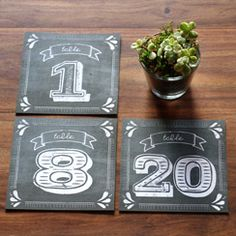 Free proffessionally designed printables Rustic Chalkboard Table Numbers PDF