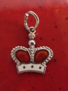 Vintage Sterling Silver Red & White Enamel CROWN Charm Pendant