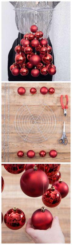 Kostenlose Anleitung: Coole Alternative für den Tannenbaum, schwebender Weihnachtsbaum aus Weihnachtsbaumkugeln.